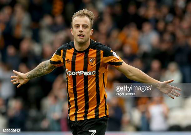 Kamil Grosicki of Hull City celebrates scoring during the Sky Bet Championship match between Hull City and Birmingham City at KCOM Stadium on...