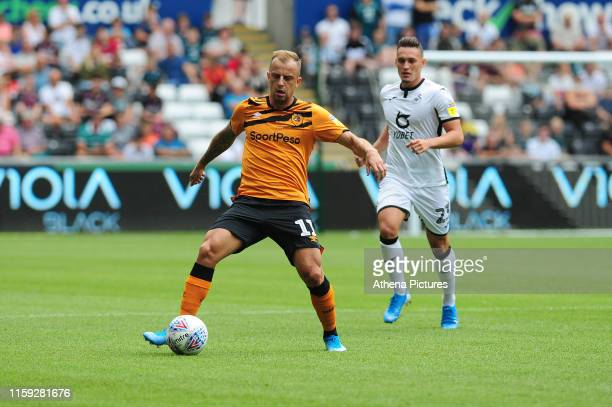 Kamil Grosicki of Hull City in action during the Sky Bet Championship match between Swansea City and Hull City at the Liberty Stadium on August 03...