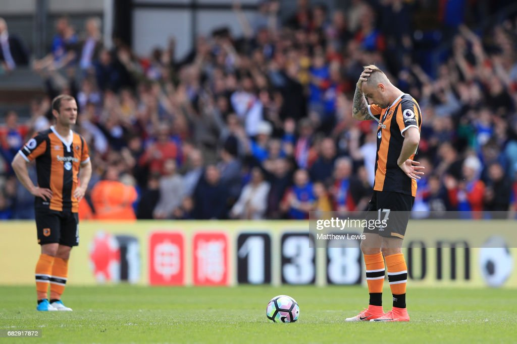 Kamil Grosicki of Hull City looks dejected after Crystal Palace third goal during the Premier League match between Crystal Palace and Hull City at Selhurst Park on May 14, 2017 in London, England.