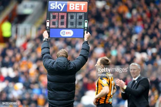 Kamil Grosicki of Hull City prepares to come on in replace of teammate Jarrod Bowen during the Sky Bet Championship match between Hull City and...