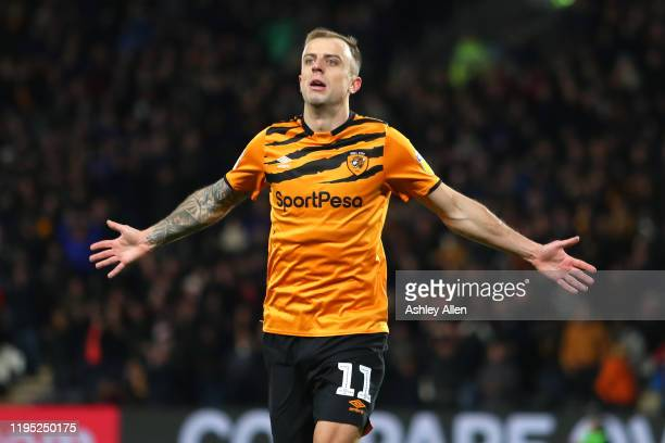 Kamil Grosicki of Hull City scores during the Sky Bet Championship match between Hull City and Birmingham City at KCOM Stadium on December 21 2019 in...