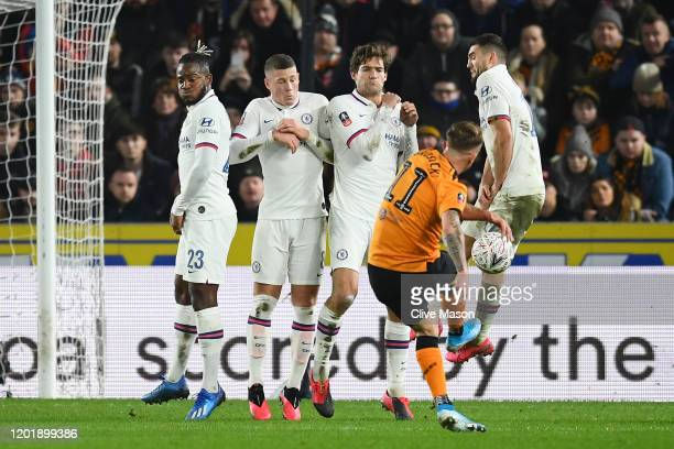 Kamil Grosicki of Hull City scores his team's first goal during the FA Cup Fourth Round match between Hull City FC and Chelsea FC at KCOM Stadium on...