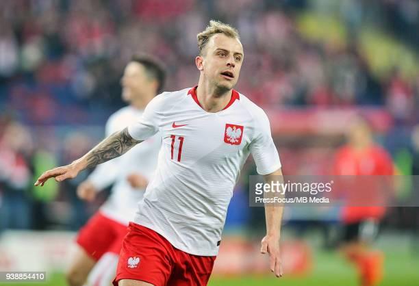 Kamil Grosicki of Poland celebrates scoring a goal during international friendly match between Poland and Korea Republic at Slaski Stadium on March...