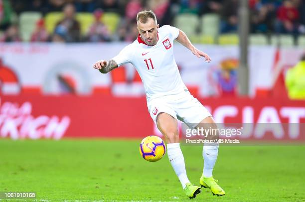 Kamil Grosicki of Poland controls the ball during International Friendly match between Poland and Czech Republic on November 15 2018 in Gdansk Poland