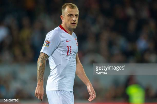 Kamil Grosicki of Poland during the UEFA Nations League A Group 3 match between Portugal and Poland at Estadio D Afonso Henriques in Guimaraes...