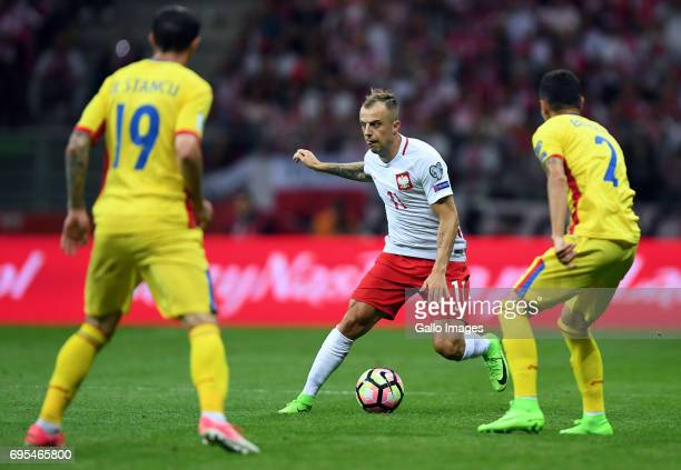 Kamil Grosicki of Poland in action during the 2018 FIFA World Cup Russia eliminations match between Poland and Romania on June 10 2017 at the...