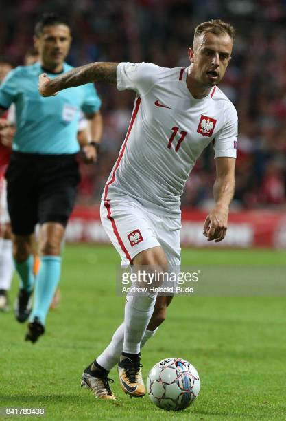 Kamil Grosicki of Poland in action during the FIFA 2018 World Cup Qualifier between Denmark and Poland at Parken Stadion on September 1 2017 in...