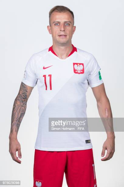Kamil Grosicki of Poland poses during the official FIFA World Cup 2018 portrait session at Hyatt Regency Hotel on June 14 2018 in Sochi Russia