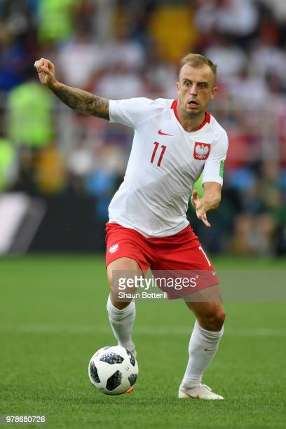Kamil Grosicki of Poland runs with the ball during the 2018 FIFA World Cup Russia group H match between Poland and Senegal at Spartak Stadium on June...