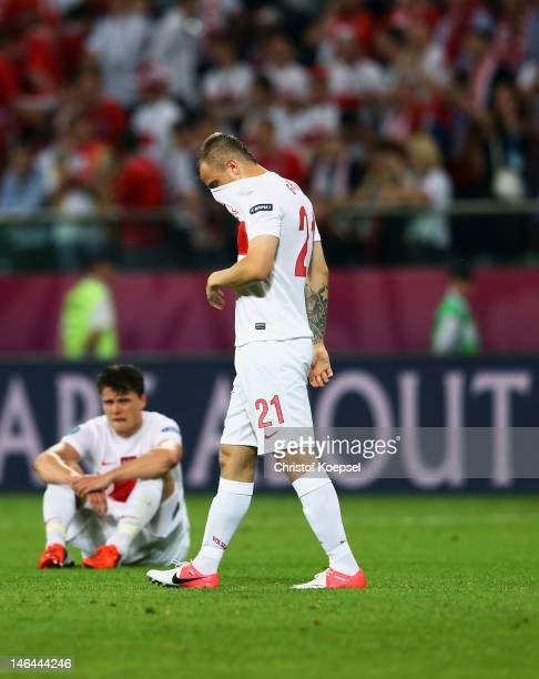 Kamil Grosicki of Poland shows his dejection at the final whistle during the UEFA EURO 2012 group A match between Czech Republic and Poland at The...
