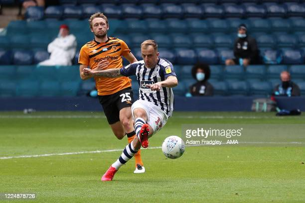 Kamil Grosicki of West Bromwich Albion scores a goal to make it 3-2 with team mates during the Sky Bet Championship match between West Bromwich...