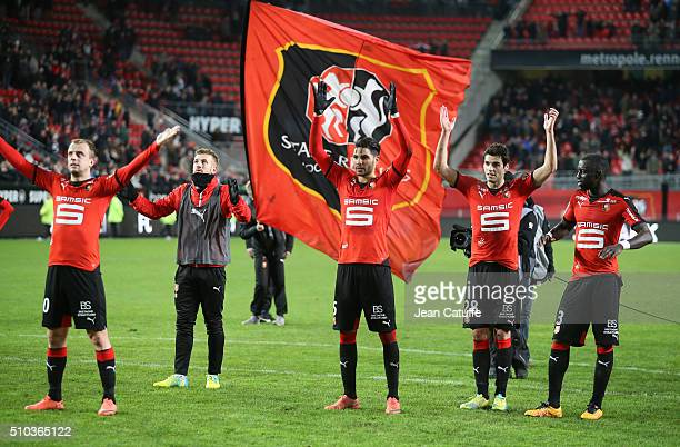 Kamil Grosicki Pedro Mendes Cheikh M'Bengue and Yoann Gourcuff of Rennes celebrate the victory following the French Ligue 1 match between Stade...