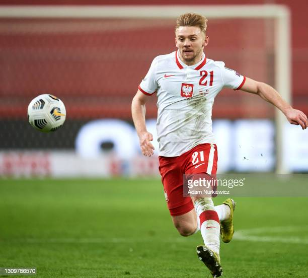 Kamil Jozwiak from Poland controls the ball during the FIFA World Cup 2022 Qatar qualifying match between Poland and Andorra on March 28, 2021 at...