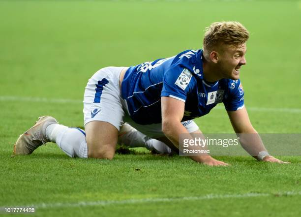 Kamil Jozwiak midfielder of Lech Poznan looks dejected pictured during the UEFA Europa League matchthird qualifying round 2 nd leg between KRC Genk...