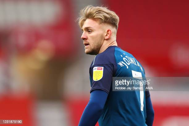 Kamil Jozwiak of Derby County during the Sky Bet Championship match between Stoke City and Derby County at Bet365 Stadium on March 20, 2021 in Stoke...