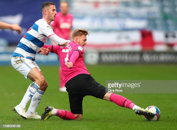Kamil Jozwiak of Derby County in action during the Sky Bet Championship match between Queens Park Rangers and Derby County at The Kiyan Prince...