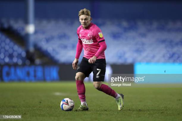 Kamil Jozwiak of Derby County on the ball during the Sky Bet Championship match between Sheffield Wednesday and Derby County at Hillsborough Stadium...