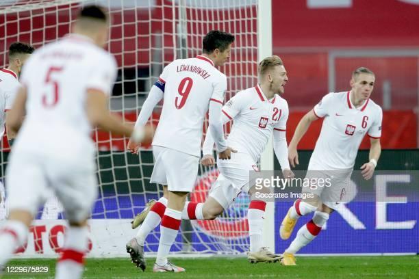 Kamil Jozwiak of Poland celebrates 1-0 during the UEFA Nations league match between Poland v Holland on November 18, 2020
