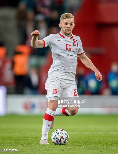 Kamil Jozwiak of Poland in action during the international friendly match between Poland and Russia at the Municipal Stadium on June 01, 2021 in...