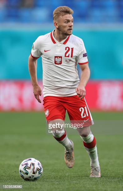 Kamil Jozwiak of Poland in action during the UEFA Euro 2020 Championship Group E match between Poland and Slovakia at the Saint Petersburg Stadium on...