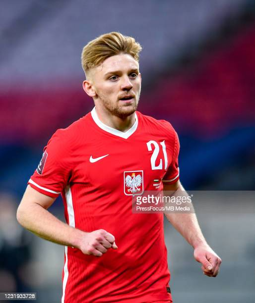 Kamil Jozwiak of Poland looks on during the FIFA World Cup 2022 Qatar qualifying match between Hungary and Poland on March 25, 2021 in Budapest,...