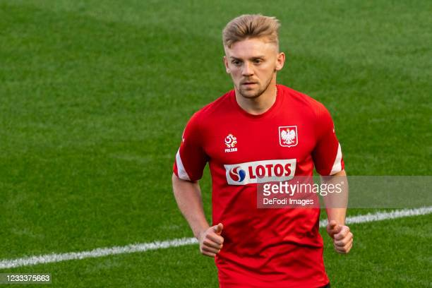 Kamil Jozwiak of Poland looks on during the Poland Training Session - UEFA Euro 2020 at PGE Arena on June 10, 2021 in Gdansk, Poland.