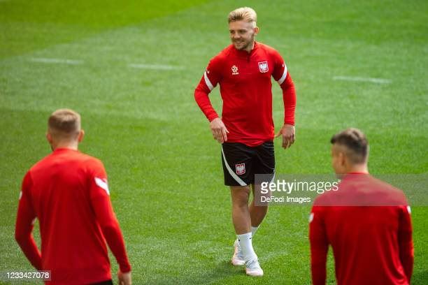 Kamil Jozwiak of Poland looks on during the Poland Training Session - UEFA Euro 2020 at PGE Arena on June 13, 2021 in Gdansk, Poland.