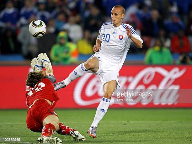 Kamil Kopunek of Slovakia scores his team's third goal during the 2010 FIFA World Cup South Africa Group F match between Slovakia and Italy at Ellis...