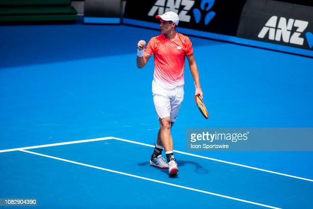 Kamil Majchrzak of Poland celebrates during day 2 of the Australian Open on January 15 2019, at Melbourne Park in Melbourne, Australia.