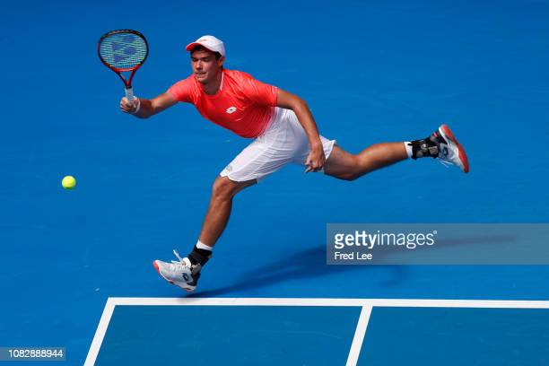 Kamil Majchrzak of Poland Play a forehand in his first round match aginst Kei Nishikori of Japan during day two of the 2019 Australian Open at...