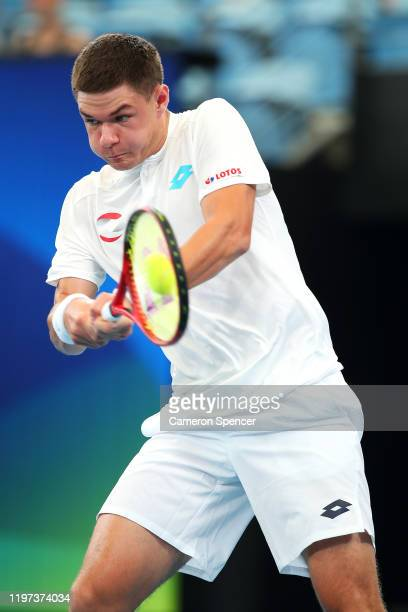 Kamil Majchrzak of Poland plays a backhand during his Group E singles match against Guido Pella of Argentina during day two of the 2020 ATP Cup Group...