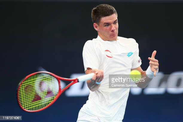 Kamil Majchrzak of Poland plays a forehand during his Group E singles match against Guido Pella of Argentina during day two of the 2020 ATP Cup Group...