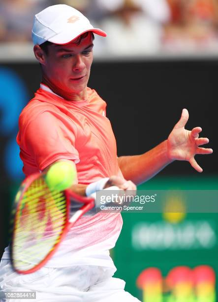Kamil Majchrzak of Poland plays a forehand in his first round match against Kei Nishikori of Japan during day two of the 2019 Australian Open at...
