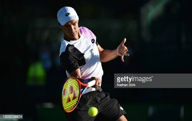 Kamil Majchrzak of Poland plays a forehand shot to Denis Kudla of United States in the men's semi-finals singles match on day eight of the Viking...