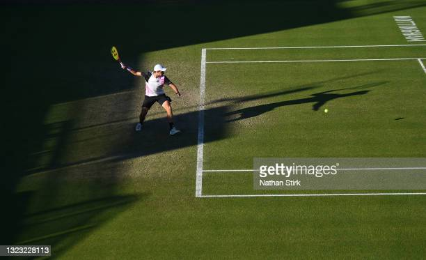 Kamil Majchrzak of Poland plays a forehand shot to Denis Kudla of United States during the men's semi-final singles match on day eight of the Viking...