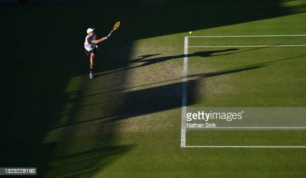 Kamil Majchrzak of Poland plays a forehand shot to Denis Kudla of United States during the men's semi-finals singles match on day eight of the Viking...