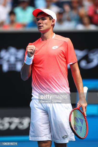 Kamil Majchrzak of Poland reacts in his first round match against Kei Nishikori of Japan during day two of the 2019 Australian Open at Melbourne Park...
