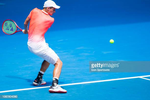 Kamil Majchrzak of Poland returns the ball during day 2 of the Australian Open on January 15 2019, at Melbourne Park in Melbourne, Australia.