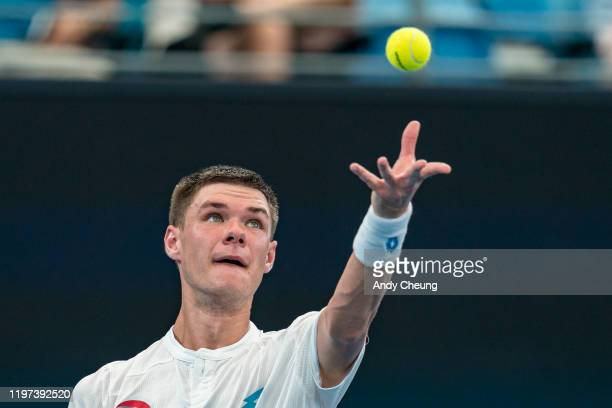 Kamil Majchrzak of Poland serves during his Group E singles match against Guido Pella of Argentina during day two of the 2020 ATP Cup Group Stage at...