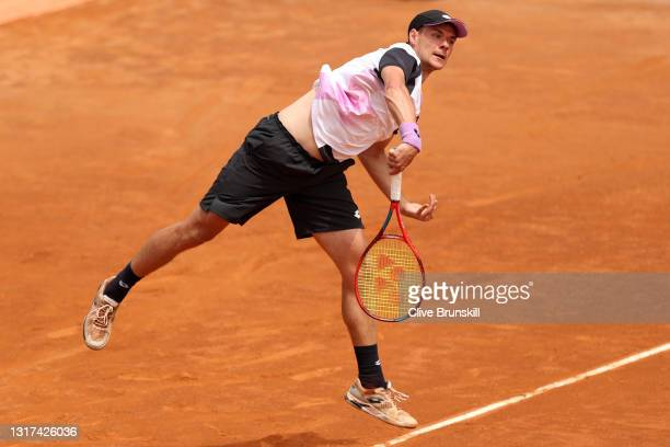 Kamil Majchrzak of Poland serves during his singles match against Denis Shapovalov of Canada during day 4 of the Internazionali BNL d'Italia at Foro...