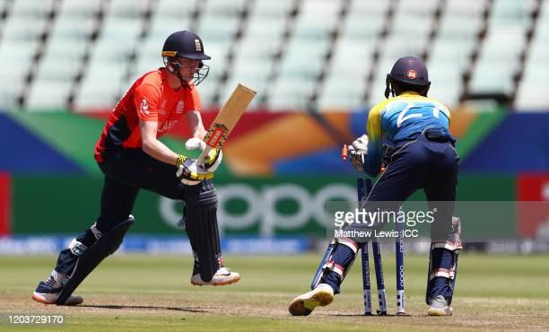 Kamil Mishara of Sri Lanka stumps Daniel Mousley of England during the ICC U19 Cricket World Cup Plate Final match between Sri Lanka and England at...