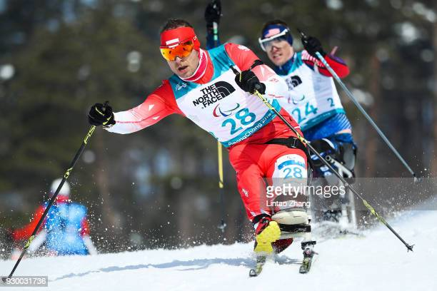 Kamil Rosiek of Poland competes in the Men's 75 KM Sitting Biathlon event at Alpensia Biathlon Centre during day one of the PyeongChang 2018...