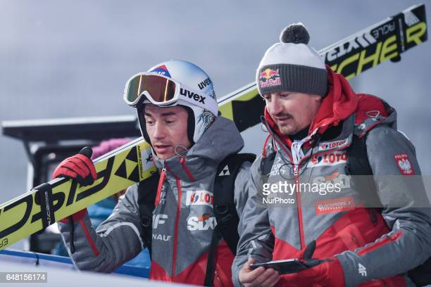 Kamil Stoch and Adam Malysz from Poland during Men Large Hill Team final in ski jumping at FIS Nordic World Ski Championship 2017 in Lahti On...