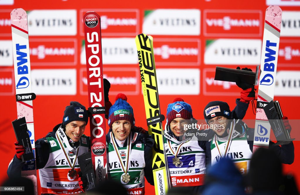 Kamil Stoch, Dawid Kubacki, Piotr Zyla and Stefan Hula of Poland celebrate winning the bronze medal of the Flying Hill Team competition of the Ski Flying World Championships on January 21, 2018 in Oberstdorf, Germany.