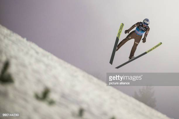 Kamil Stoch from Poland in action during a trial round during the Four Hills Tournament in Bischofshofen Austria 5 January 2018 Photo Daniel...