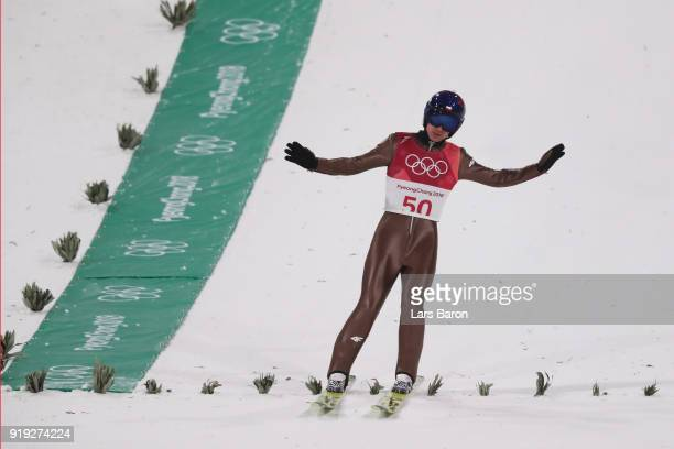 Kamil Stoch of Poland celebrates after he makes a jump during the Ski Jumping Men's Large Hill on day eight of the PyeongChang 2018 Winter Olympic...