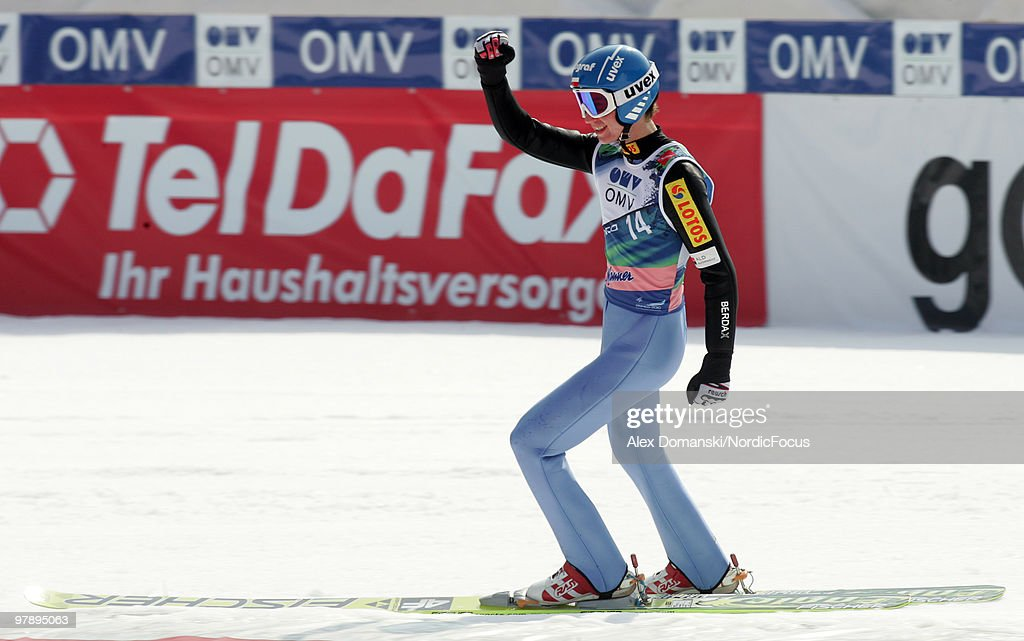 Kamil Stoch of Poland celebrates after the final jump during the individual event of the Ski jumping World Championships on March 20, 2010 in Planica, Slovenia.