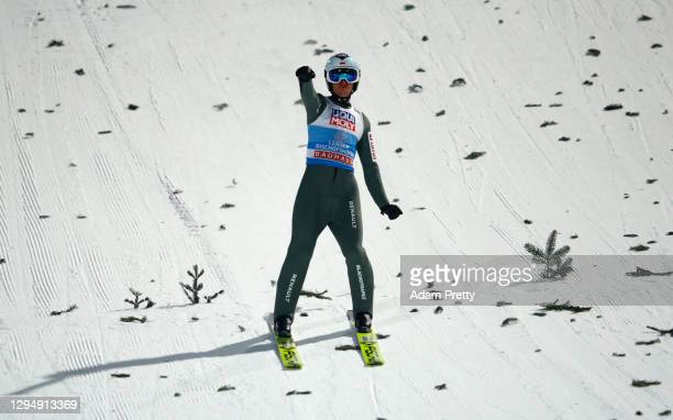 Kamil Stoch of Poland celebrates after the final round at the Four Hills Tournament 2020 Bischofshofen at Paul Ausserleitner Hill on January 06, 2021...