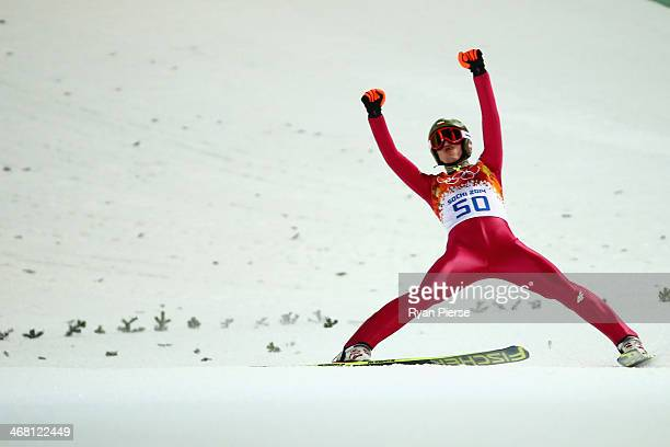 Kamil Stoch of Poland celebrates as he claims the Gold Medal during the Men's Normal Hill Individual Ski Jumping Final on day 2 of the Sochi 2014...