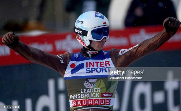 Kamil Stoch of Poland celebrates victory after the final round of the 65th Four Hills Tournament at Bergisl Schanze on January 4 2018 in Innsbruck...